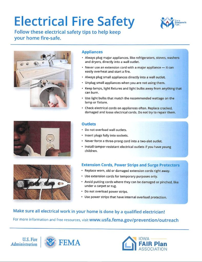 Click on this image to download a PDF about Electrical Fire Safety