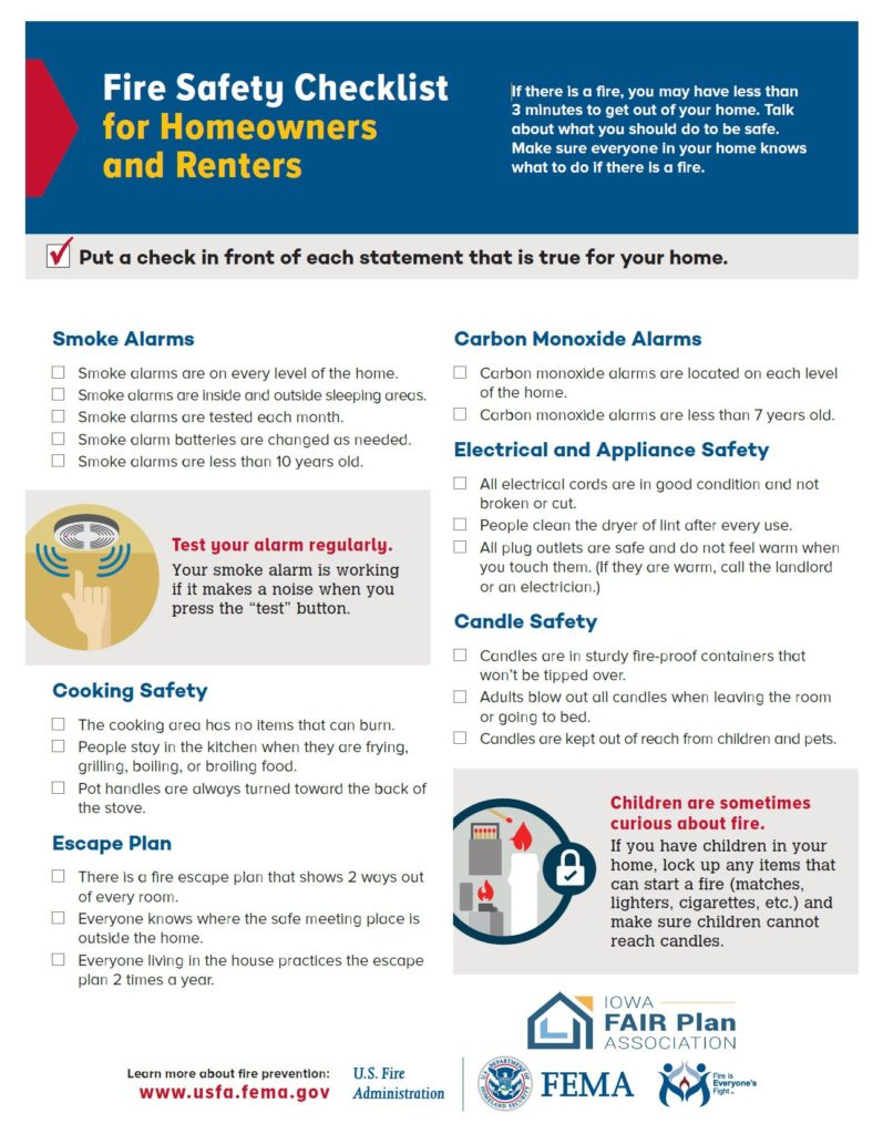 Click on this image to download a PDF Fire Safety Checklist