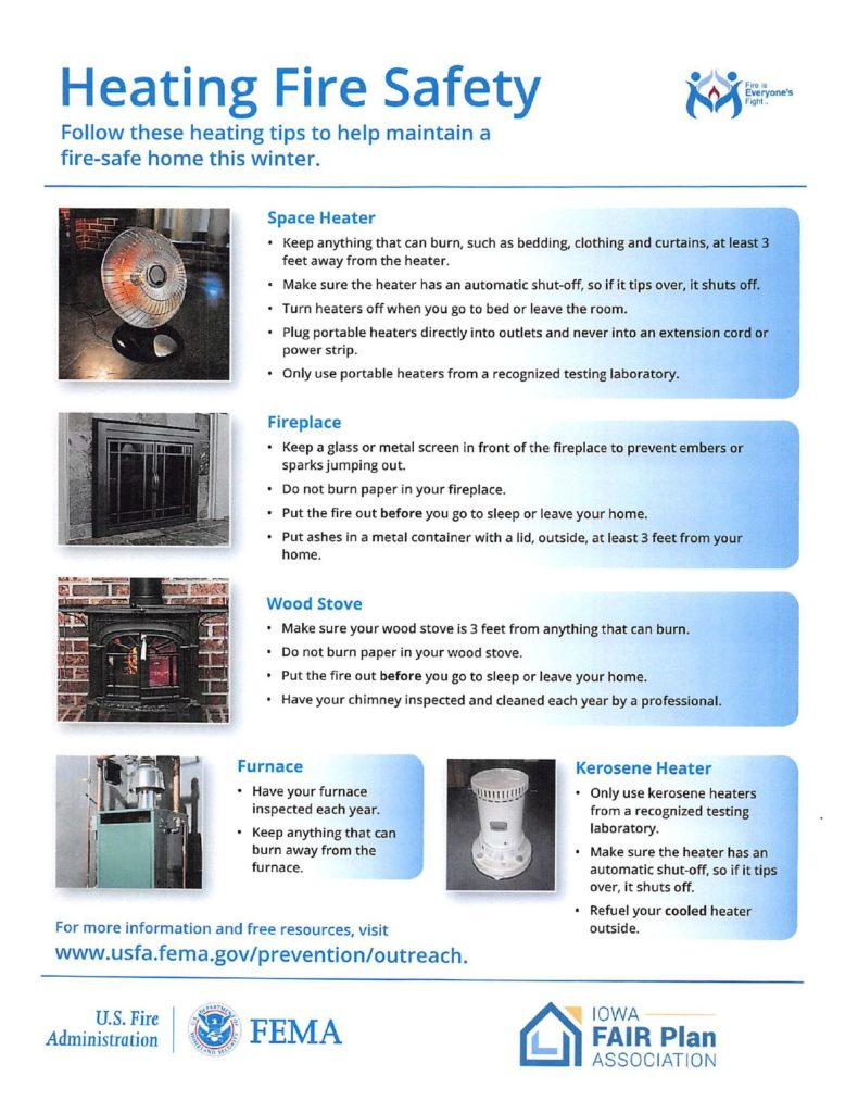 Click on this image to download a PDF about Heating Fire Safety