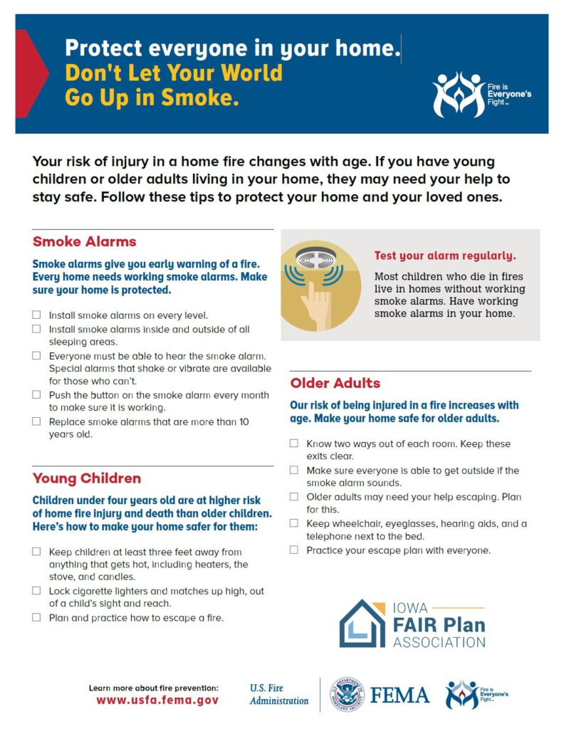Click on this image to download a PDF about fire safety for everyone in your home