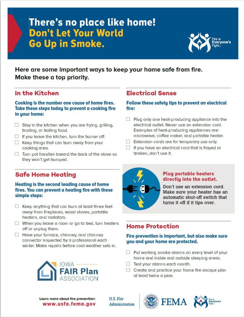 Click on this image to download a PDF about keeping your home safe from fire